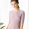 Boho Chic 100% Cashmere Side Slit Allover Ribbed Sheath  Dress
