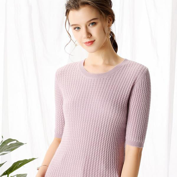 Boho Chic 100% cashmere O-neck Short Sleeve Allover Small Cable Knitted Pullover - BOHOCHIC