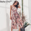 Boho Chic Floral Dress Sexy V High Fork Long Dress