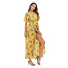 Boho Chic Floral Dress Sexy V High Fork Long Dress - BOHOCHIC