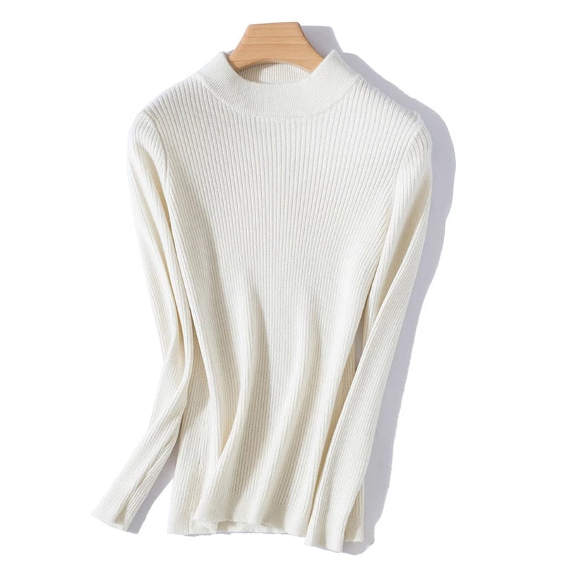 Boho Chic 100% cashmere Half Turtleneck Allover Ribbed Pullover - BOHOCHIC