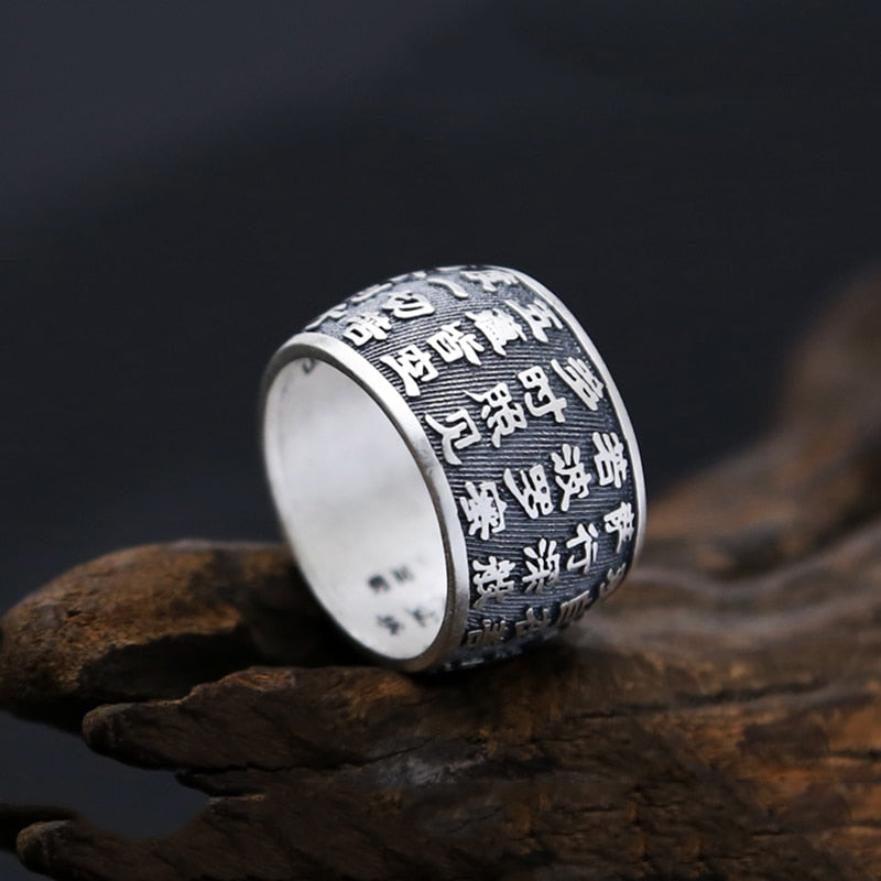Boho Chic Buddhist Heart Sutra Ring 100% Real S999 Sterling Silver Buddha Ring - BOHOCHIC