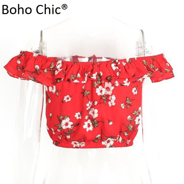 Boho Chic Red printed truffles chiffon blouse  off shoulder short sleeve crop top - BOHOCHIC