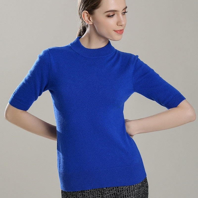 Boho Chic 100% cashmere  High Ribbed O-neck Short Sleeve Knitted Pullover - BOHOCHIC