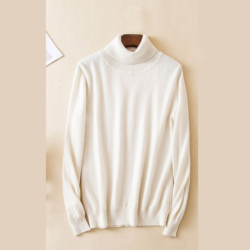 Boho Chic 100% cashmere  Turtleneck Pullover Sweater Rib Collar Sweaters Knit Top - BOHOCHIC