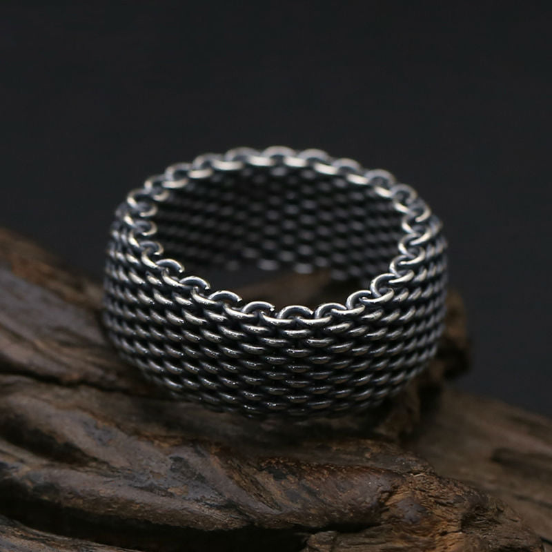 Boho Chic Ring 100% Real 925 sterling silver 10mm Wide Weave  ring - BOHOCHIC
