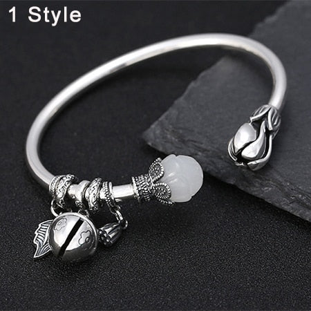 Boho Chic  Buddha Mantra Bangles 100% Real S990 sterling silver - BOHOCHIC
