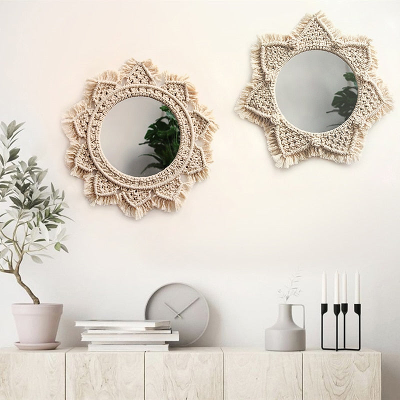 Boho Chic Macrame Wall Hanging  Decorative Mirror  Tapestry - BOHOCHIC