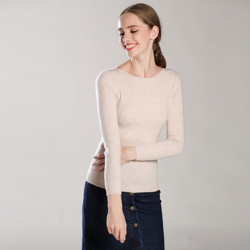 Boho Chic 100% cashmere Sweaters Ribbing Slash Neck Pullover Ribbed Cuff - BOHOCHIC