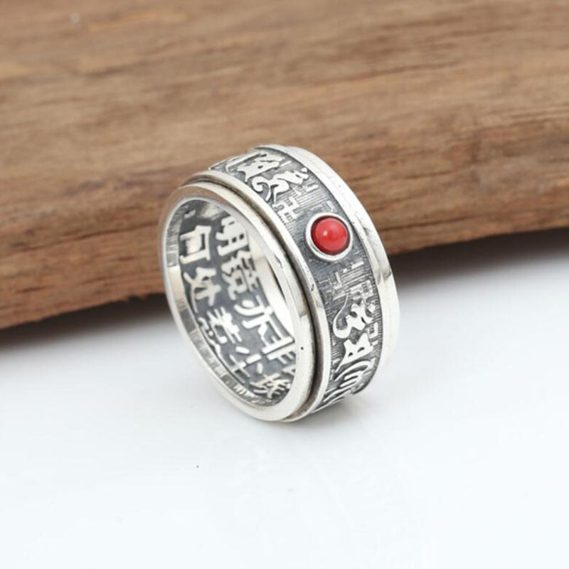 Boho Chic Red Gem Buddhist Heart Sutra Ring 100% Real 925 sterling silver - BOHOCHIC