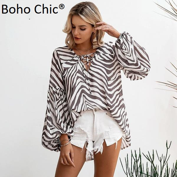 Boho Chic printed Zebra stripes blouse Bell long sleeve - BOHOCHIC