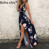 Boho Chic Halter sleeveless women jumpsuit long Floral print