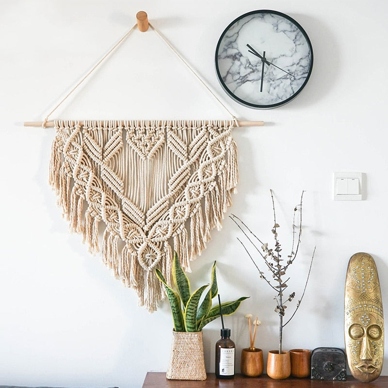 Boho Chic Hanging Wall Decor  Cotton Rope Cord Woven Tapestry - BOHOCHIC