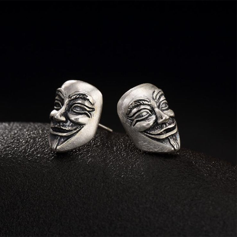 Boho Chic  Face Mask Earring 100% Real S990 Sterling Silver  Stud Earring  Fine Fashion Jewelry - BOHOCHIC