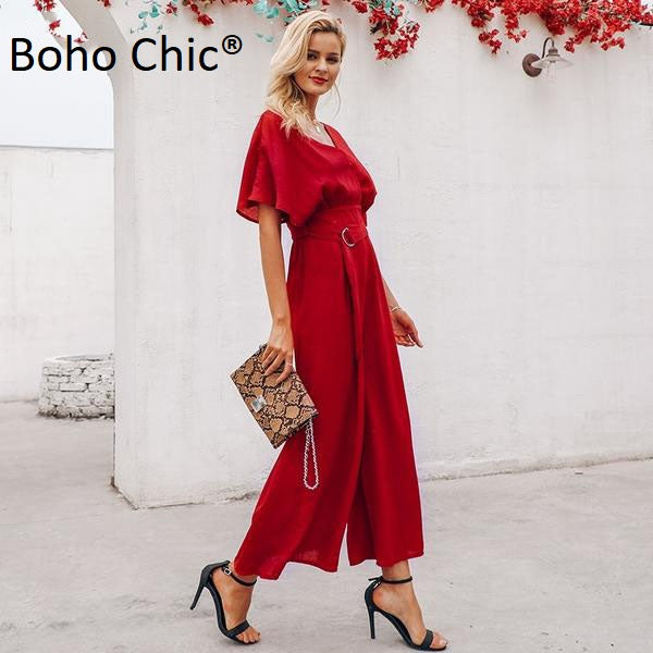 Boho Chic Red ruffle sleeve jumpsuit women sexy deep v neck - BOHOCHIC