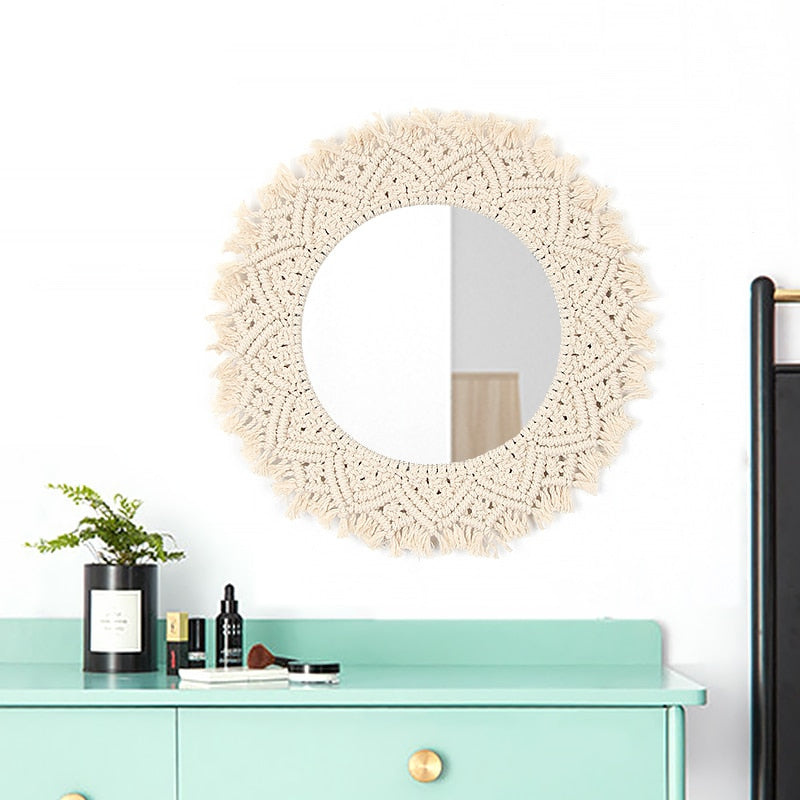 Boho Chic Macrame Tapestry Wall Mirror  Hanging Decorations - BOHOCHIC