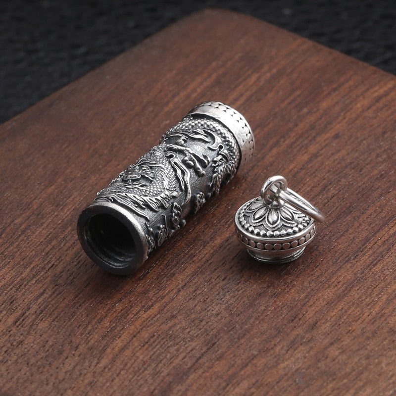 Boho Chic Pendant 100% 925 Sterling Silver  Openable Gawu Box Dragon totem Necklace - BOHOCHIC