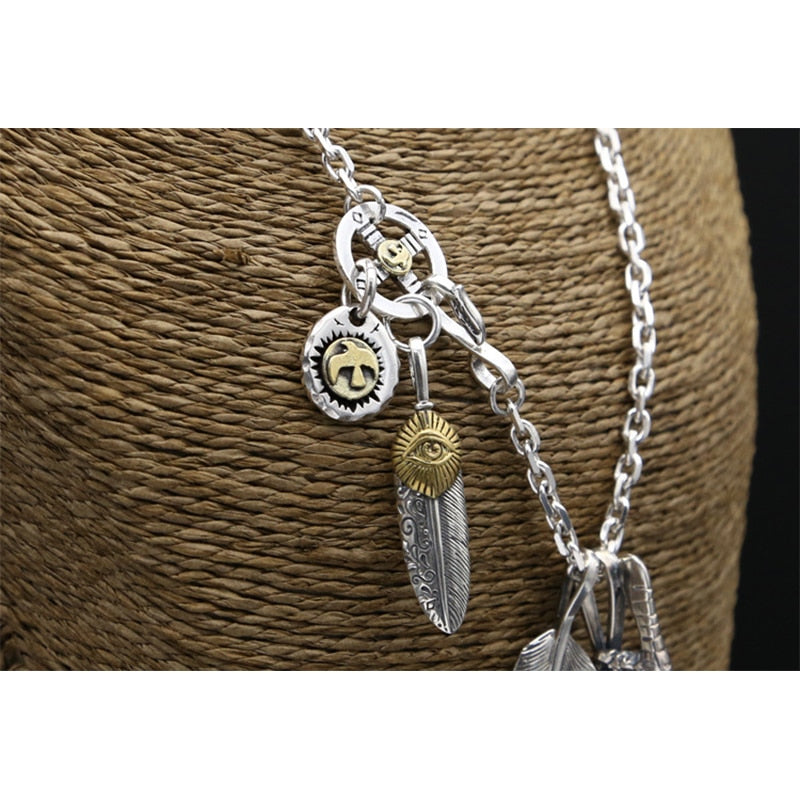Boho Chic Feather Eagle Necklace Pendant 100% Real 925 Sterling Silver - BOHOCHIC