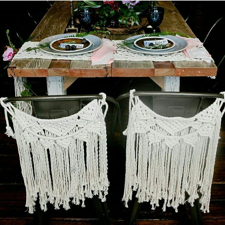 Boho Chic Macrame Wall Hanging Hand-Woven Back Chair Tapestry - BOHOCHIC