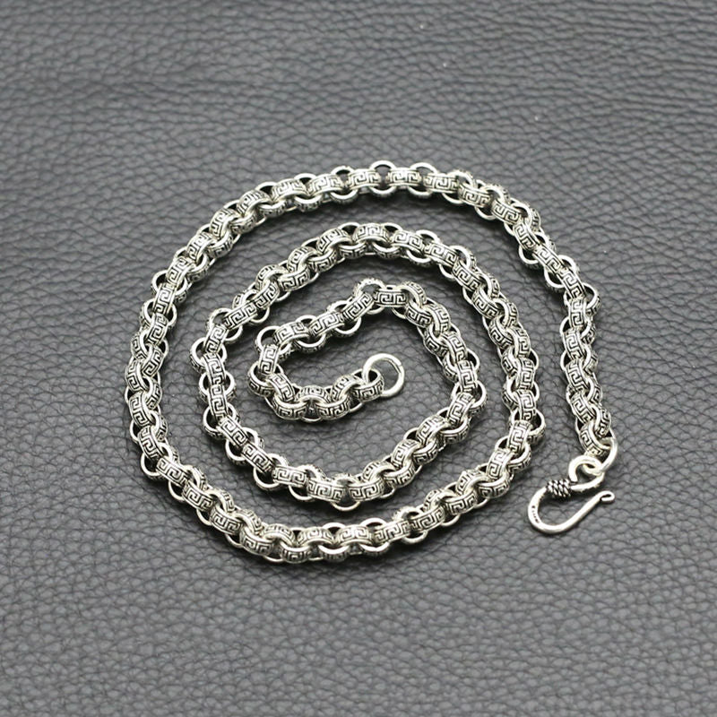 Boho Chic 100% Real 925 sterling silver 8mm Wide Wrinkle chain - BOHOCHIC