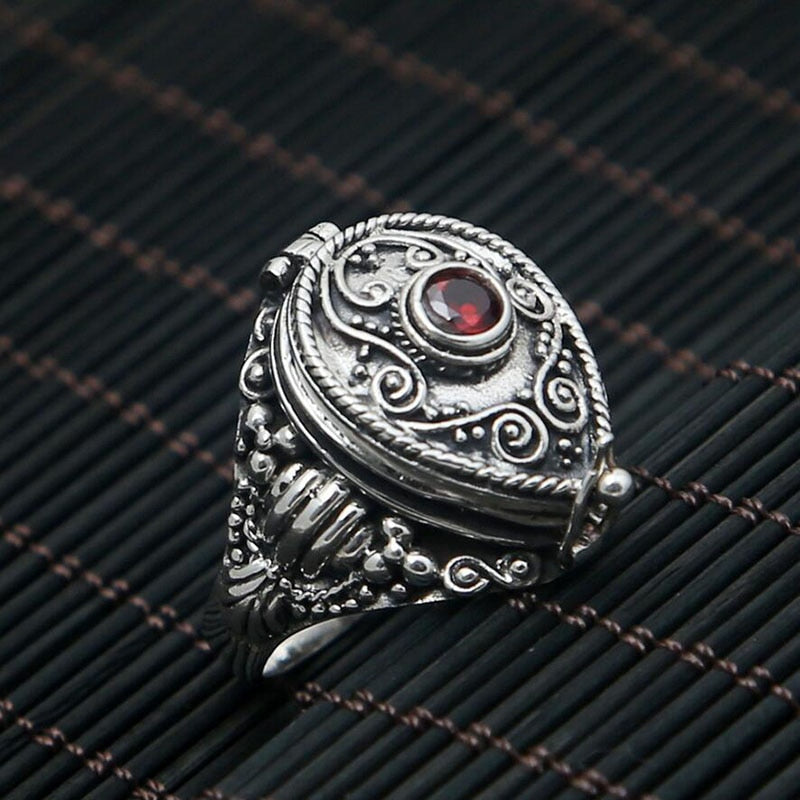 Boho Chic  100% 925 Sterling Silver Ring Red Natural Stone - BOHOCHIC
