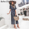 Boho Chic Deep V-neck Striped Ladies Mini Dress