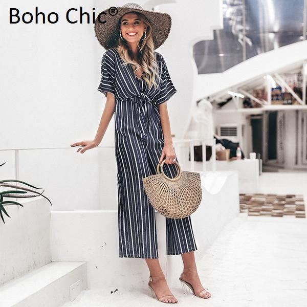 Boho Chic  striped v neck long jumpsuit - BOHOCHIC