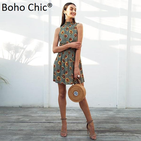 Boho Chic Long Sexy Printed Floral Sleeveless Dress