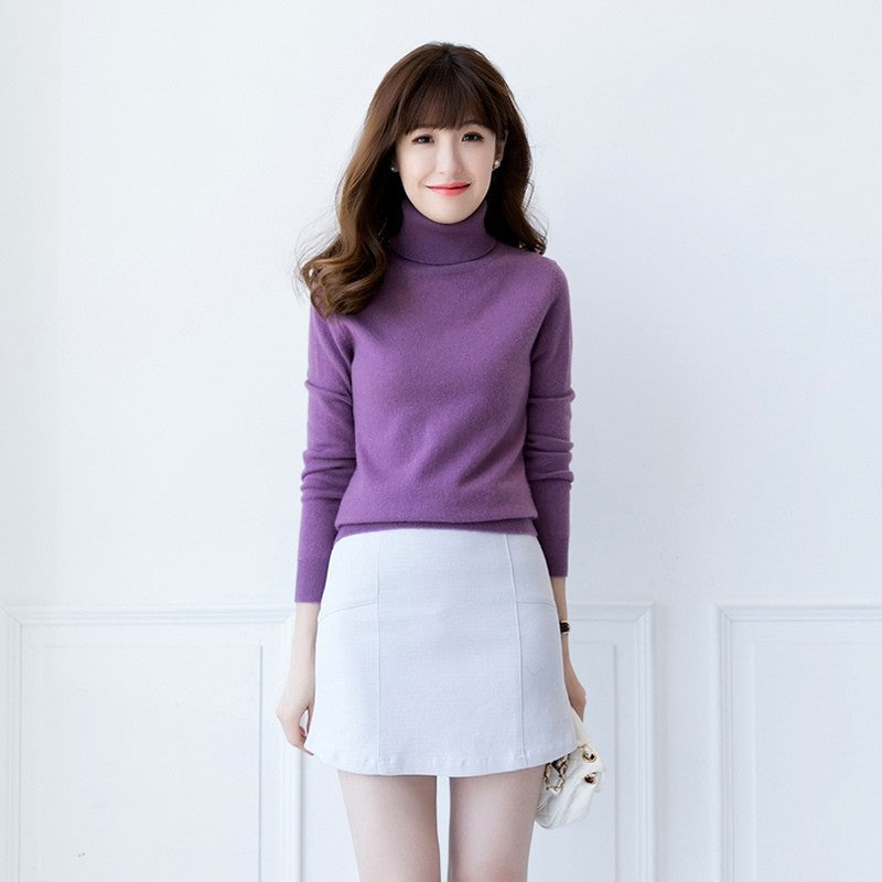 Boho Chic 100% cashmere Turtleneck Knitted Pullover - BOHOCHIC