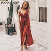 Boho Chic Boho Floral Print V Neck Sexy Jumpsuit Backless Lace Up