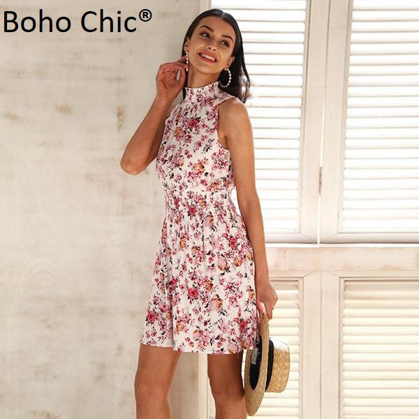 Boho Chic Sleeveless floral print dress Elastic waist mini dress - BOHOCHIC
