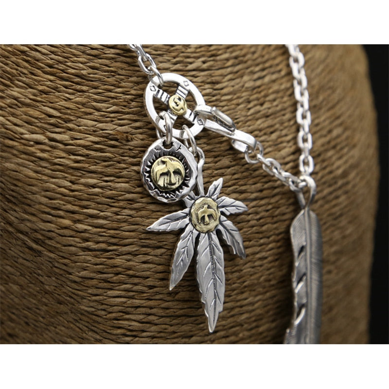 Boho Chic Feather leaf Chain Necklace Pendant 100% 925 Sterling Silver - BOHOCHIC
