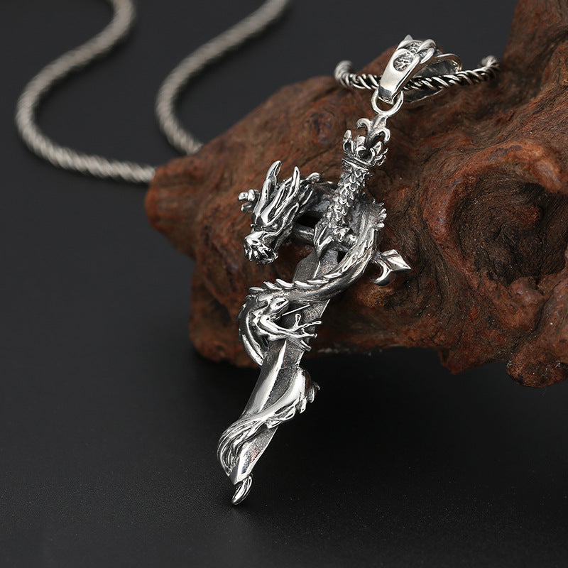 Boho Chic Pendant 100% 925 Sterling Silver  Holy sword Dragon Pendant  (Only Pendant) - BOHOCHIC