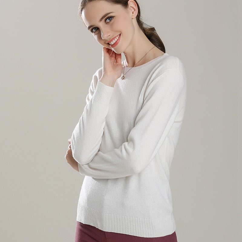 Boho Chic 100% cashmere Collar O-neck Knitted Pullover - BOHOCHIC