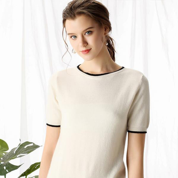Boho Chic 100% cashmere  O-neck Short Sleeve Knitted Pullover - BOHOCHIC