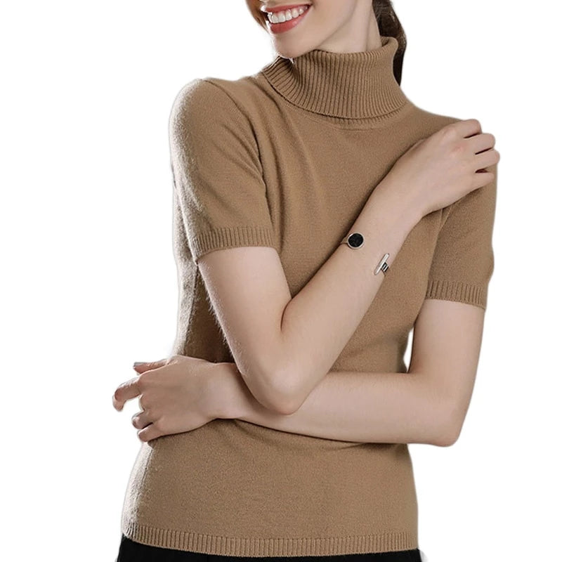 Boho Chic 100% cashmere  Turtleneck Short Sleeve Knitted Pullover - BOHOCHIC