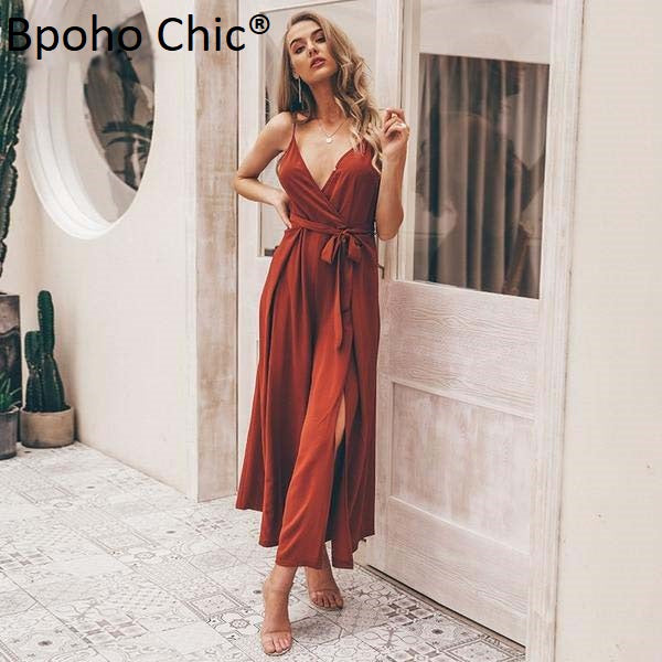 Boho Chic Sexy floral print jumpsuits women V neck split spaghetti strap long overalls - BOHOCHIC