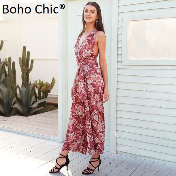 Boho Chic Boho Floral Print V Neck Sexy Jumpsuit Backless Lace Up - BOHOCHIC