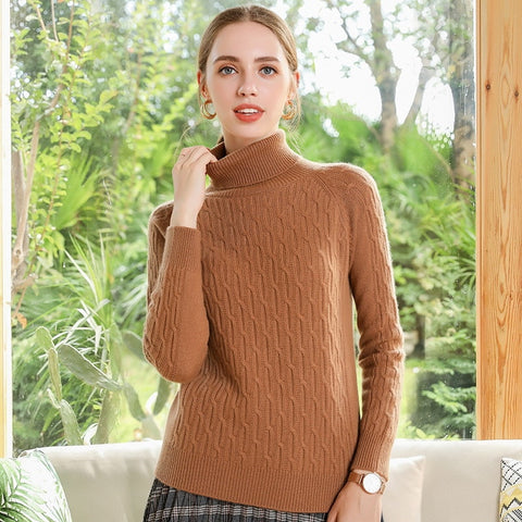 Boho Chic 100% cashmere Turtleneck Knit Pullover