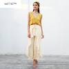 Boho Chic stripe ruffle pants Sash high waist wide leg - BOHOCHIC