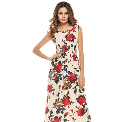 Boho Chic Sexy High Fork Print Boho Dress Elegant Long Maxi Dress