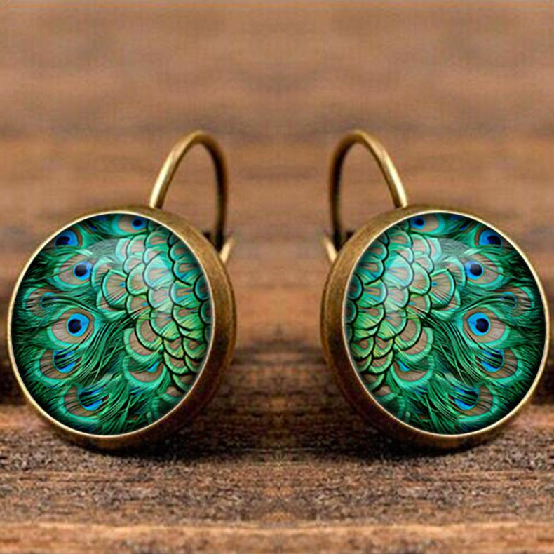 Boho Chic Peacock Feather Glass Earrings - BOHOCHIC