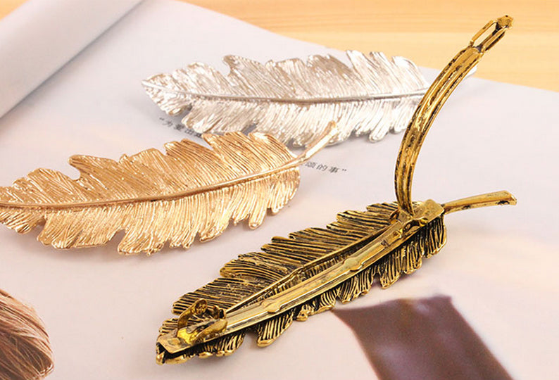 Boho Chic Metal Feather Hairpin Hair Clips - BOHOCHIC