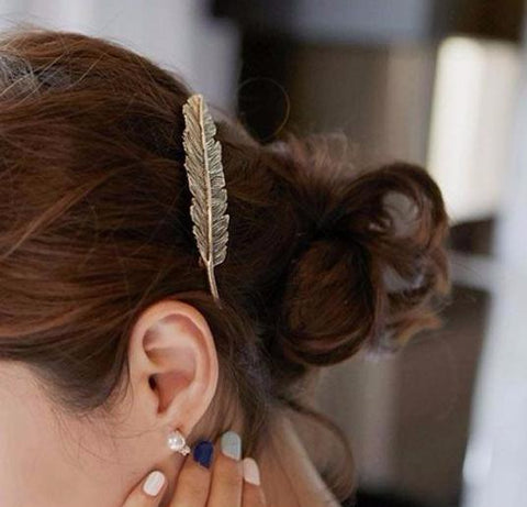 Boho Chic Metal Feather Hairpin Hair Clips