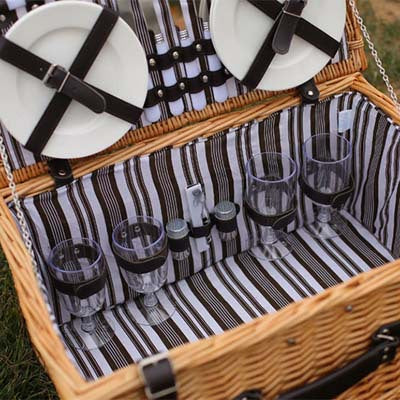 Boho Chic willow picnic storage baskets Handmade for 4 persons - BOHOCHIC