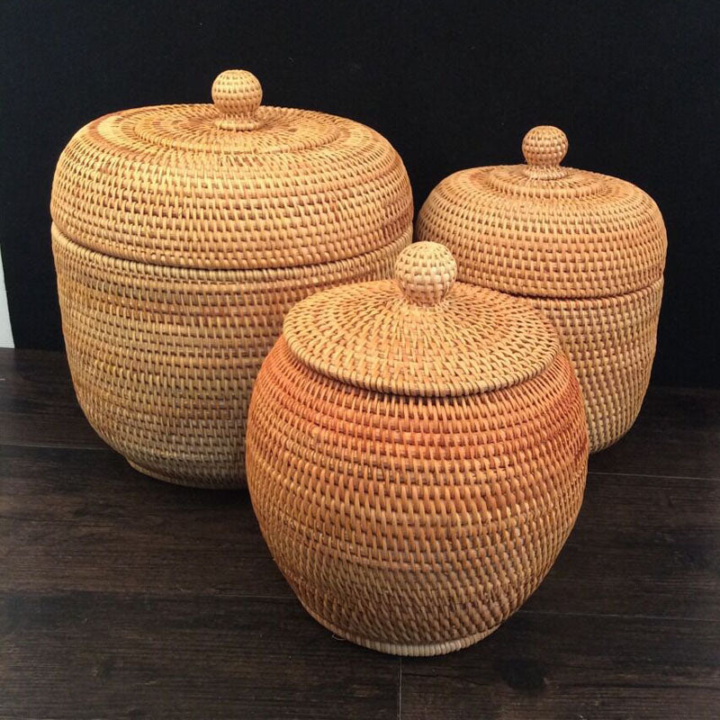 Boho Chic Vietnam beautiful autumn rattan weaving cane storage organizers - BOHOCHIC
