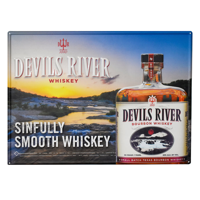 Sinfully Smooth Devils River Whiskey Metal Tacker - Devils River Whiskey