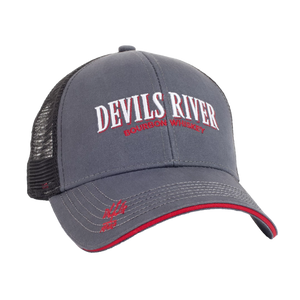 Snapback Trucker Cap by Devils River Whiskey Grey Red and Black