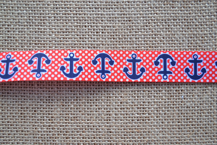 dog collar anchors red white blue preppy nautical