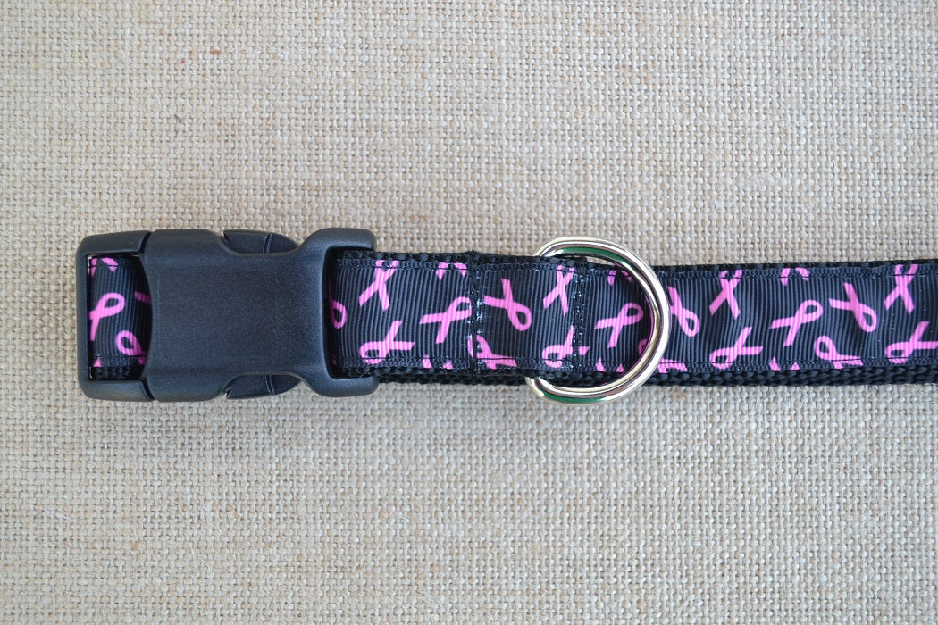 dog collar breast cancer pink ribbon